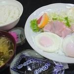Kashiwaya - ハムエッグ定食+海苔