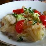 雪月花廊 - 前菜のサラダも、その日によって具材が違います。