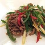 中国料理 皇家龍鳳 - 牛肉の細切りとピーマンの炒め。