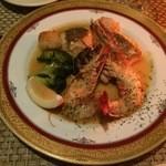 41096193 - 2皿目の旬の魚介2種のソテー季節のお野菜添え