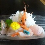 松月 - キスのうすづくり・甘えび、鯛の昆布締め等のお刺身