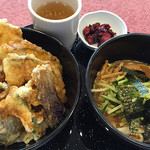天丼やトップライト - 野菜天丼と平麺1,100円