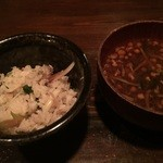 slow dining 金時 - 鮎の炊き込みごはんと味噌汁