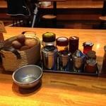 徳島ラーメン人生 - 生玉子は無料、調味料が充実