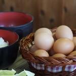 有精美容卵 コケコッコー共和国 山の駅よって亭 - 玉子かけごはん 390円