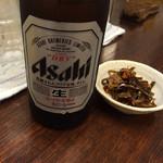 麺屋 廣島弐番 - ビールでしょ〜〜❤️  ビール頼んだら昆布の佃煮的なものがついてきました〜
