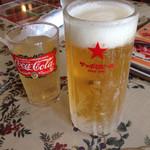 焼肉とステーキの店 ノースヒル 茨戸ガーデン - セットのドリンクと小ビール