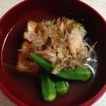 豆腐工房 我流 - 絹厚揚げで、冷たい葛餡を作りました