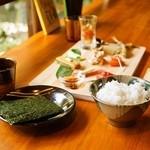 芒種 - 彩つつみ寿司セット 1,100円(ご飯は、ハナエチゼン)