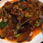 中華料理 帰郷 - 「麻婆茄子炒め定食」(700円) の麻婆茄子をアップ。