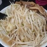 自家製太麺 ドカ盛 マッチョ - ラーメン 並  麺少な目・野菜マシマシ・ニンニク無  俯瞰図