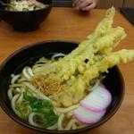 シンショー製麺うどん なべちゃん - ごぼう天うどん大盛り、510円。(90円増)