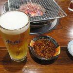 芦山 - 料理写真:生ビールが来て準備完了