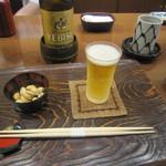 七福神 環 - 瓶ビール・お通し(ビスタチオ)