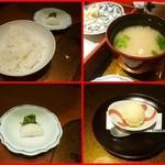 野菜割烹 あき吉 - 食事 ご飯 香物 味噌汁       デザート オレンジのアイスクリーム