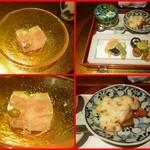 野菜割烹 あき吉 - 小鉢 オクラ トマト 長芋 焼茄子 ゼリー寄せ、焼物 お野菜と厚揚げのグラタン