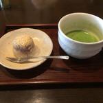 41218401 - 東京軍鶏のあきる野御膳 食後の甘味とお抹茶 夏っぽく水饅頭でした。                       お抹茶付きというのがまた良いですね〜(*^^*)