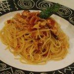 カフェレストランあらかし - 明石蛸ときのこのトマトパスタ