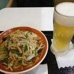 王記厨房 - サンマー麺590円,生ビール300円