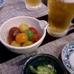 41236349 - カラフルトマトのおひたし  味が染みていて冷たく冷えていて最高!