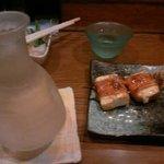 むさし - 豆腐巻きと日本酒(冷酒をとっくりで♪)