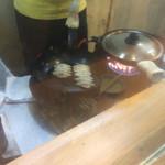 ぎょうざ屋 - 蓋の中では熱々の餃子が