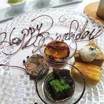 トロワフレーシュ - プリン、ミルフィーユ、抹茶のわらび餅、麦茶のケーキ、  アールグレイのシフォンケーキ、