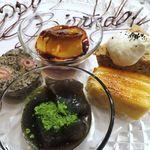 トロワフレーシュ - プリン、ミルフィーユ、抹茶のわらび餅、麦茶のケーキ、  アールグレイのシフォンケーキ
