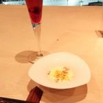 41282131 - 記念日コース(5292円+チャージ300円)                       アミューズと食前酒(とうもろこしのブランマンジェ)。