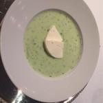 GINZA HABSBURG VEILCHEN - Gurkenkaltschale mit Frischkäseauflauf             胡瓜の冷製スープ ディール風味             フレッシュチーズのアオフラオフ