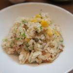 久米川  絹 - 玉蜀黍とジャコの山椒炊込み御飯 取り分けて