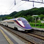 さつき食堂 - 関根駅を通過する山形新幹線「つばさ」(2015年8月)