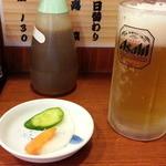 ラーメン 西海 - 生ビールはスーパードライ400円でお新香付