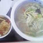 中華そば あまの屋 - 野菜塩タンメンにランチ中華丼