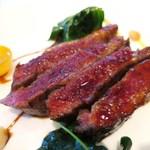 レストラン サンパウ - ホセリート社 イベリコ豚のプルーマ   金柑、スイスチャード、マカダミアナッツ