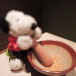 KICHIRI - しゃかしゃかしゃか~ うぉぉぉ、ちびつぬがすごい勢いで胡麻を!!  このサラダも美味しかったよ。