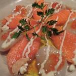 KICHIRI - 続いて、旬鮮北海の幸カルパッチョ仕立て790円(税抜)。 サーモン、貝柱、いくらのカルパッチョだよ。 これも美味しい~♪