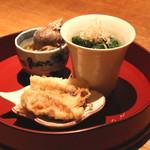 高太郎 - 穴子の天ぷら、モロヘイヤのおしたし、ツブ貝の生姜煮 (2015/08)