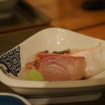 昼網寿司 ほのか - 造りは、勘八、明石鯛、明石蛸の3点盛り