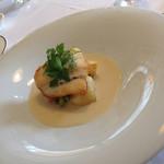 ヴィーヴルソレイユ - 魚メイン。ヒラメのムニエル、ジャガイモソースのスープ仕立て(^∇^)