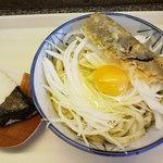 源 - オニオンバジルうどん+茄子天+おにぎり