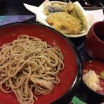 愛子屋 - 涼そば 夏野菜てんぷらセット800円