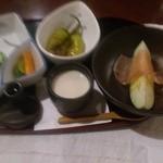 おりおり - 小鉢、水茄子に生ハムオリーブオイル掛。