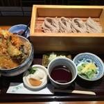 蕎膳 楽 - 天丼とおそばのお膳¥1000。そば大盛り。