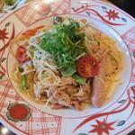 41486128 - 京のもち豚と京野菜の具たくさん醤油バターパスタ