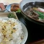 明月 - うどん定食(肉うどん)