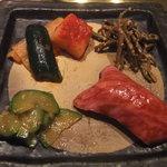 4151246 - 前菜(和牛の握り 大根、白菜キムチなど)