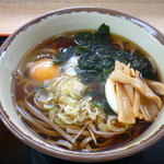 Kuroisopakinguerianoborisenshokudou - かけそば+メンマ+生卵+ゆで卵