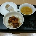41529644 - 焼売、焼き鳥丼、コンソメ