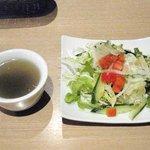 RESTAURANT SHIMIZU - パスタランチのスープとサラダ